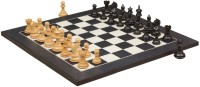 Chessbazaar Fierce Knight Staunton Set & Black Anigre Maple 3 Inch Chess Board (Black, White)
