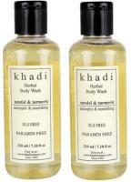Khadi Natural Sandal & Turmeric Body Wash- Sls & Paraben Free (Set Of 2) (420 Ml)