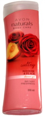 Avon Naturals Bodycare Suttry Red Rose And Peach Shower Gel