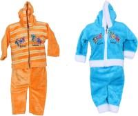 Tiny Toon Baby Boy's Embroidered Blue, Yellow Top & Pyjama Set