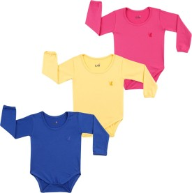 Lula Baby Girl's Pink, Dark Blue, Yellow Bodysuit - BOLEGKY8T7SWZRHF