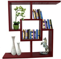 Afydecor Solid Wood Open Book Shelf (Finish Color - Red)