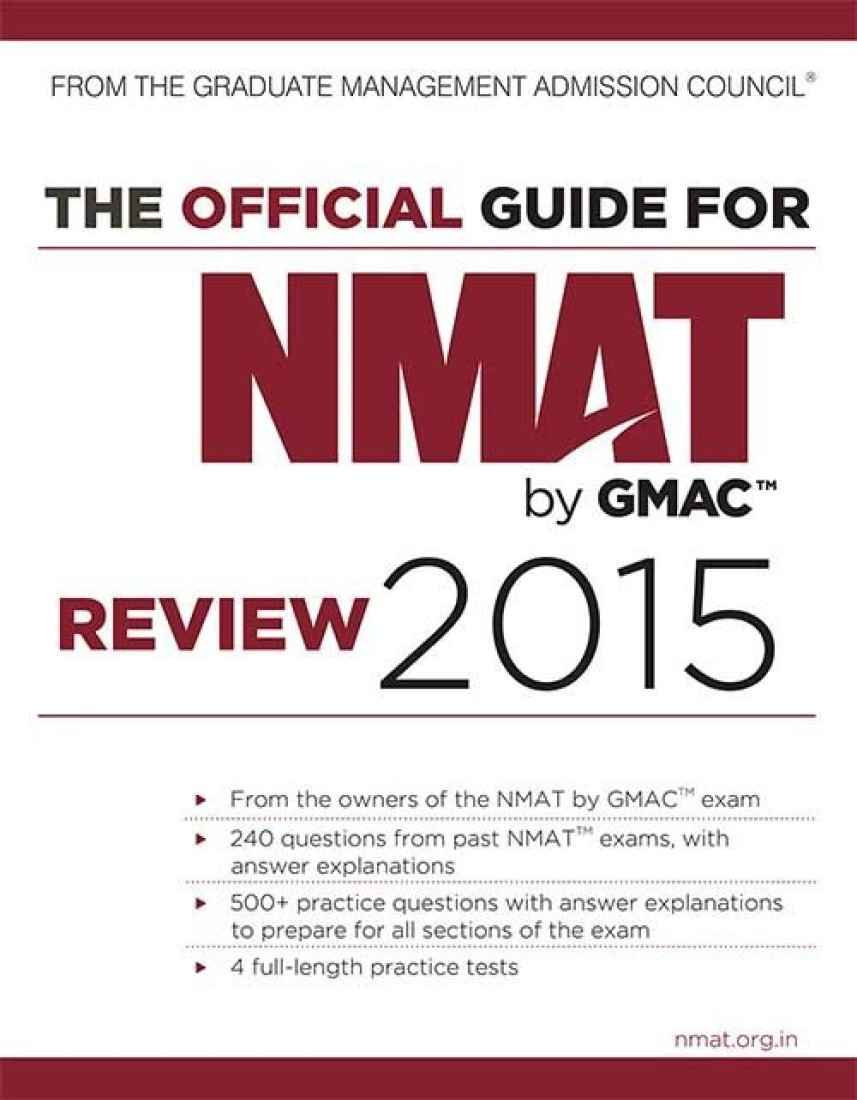 The Official Guide for NMAT by GMAC Review 2015 (English) price comparison at Flipkart, Amazon, Crossword, Uread, Bookadda, Landmark, Homeshop18