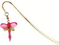 Kanhai Dragonfly Tiny Metal Clip Bookmark (Nature, Pink)