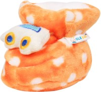 Ole Baby Upside Down Plush Polka Dotted Soft Furry Organic 3d Toons 3-12 Months Booties (Toe To Heel Length - 12 Cm Orange)