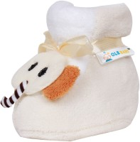 Ole Baby Elephant Plush Soft Furry Organic 3d Toons 0-9 Months Booties (Toe To Heel Length - 10 Cm White)