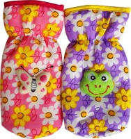 Littly Floral Print Bottle Covers Combo (Pink, Purple)