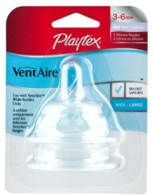 Playtex Ventaire Wide Silicone Nipples 3-6 MPlus Fast Flow Nipple