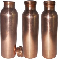 Prisha India Craft Set Of 3, Pure Copper Water Thermos Joint Less Best Quality For Ayurvedic Health Benefits 600 Ml Bottle (Pack Of 3, Gold)