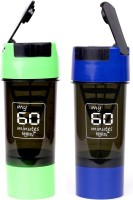 My 60 Minutes Pack Of Green & Blue Cyclone Shaker 500 Ml Bottle (Pack Of 2, Green, Blue)