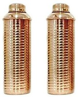 Prisha India Craft Best Quality Pure Copper Thermos Bottle With Lining For Ayurvedic Health Benefits Set Of 2 800 Ml Bottle (Pack Of 2, Gold)