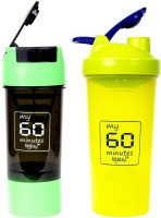 My 60 Minutes Pack Of Green & Green Shaker 700 Ml Bottle (Pack Of 2, Green, Green)