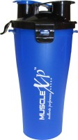 MuscleXP Pre And Post Workout Bottle With Strainer - Design 5 500 Ml Shaker (Pack Of 1, Blue Transparent)