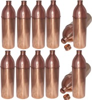 Prisha India Craft Pure Copper Water Bottle Set Of 12 Best Quality Thermos For Ayurvedic Health Benefits 850 Ml Bottle Pack Of 12, Gold