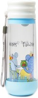 Chrome Glass Hybrid Double Wall 400 Ml Bottle (Pack Of 1, White, Blue)