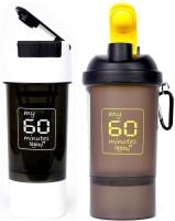 My 60 Minutes Pack Of White & Yellow Shaker 500 Ml Bottle (Pack Of 2, White:Yellow)