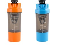 HAANS Shakeit 500 Ml Bottle, Sipper, Shaker (Pack Of 2, Blue, Orange)