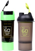 My 60 Minutes Pack Of Green & Green Shaker 500 Ml Bottle (Pack Of 2, Green, Green)