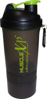 MuscleXP Smart Advanced Gym With Strainer - Design 2 500 Ml Shaker (Pack Of 1, Black Transparent)