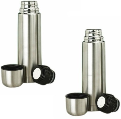 Impressive9 Stylish 500 Ml Flask (Pack Of 2, Silver)