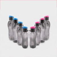Tupperware Flip Top Set 0f 8 1000 Ml Bottle (Pack Of 8, Black, Pink)