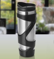 Pebbleyard Mosaic Sipper 400 Ml Sipper (Pack Of 1, Silver, Black)