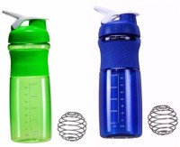 SOUK Fitness Shakewell 750 Ml Shaker, Bottle, Water Bag, Sipper (Pack Of 2, Green, Blue)