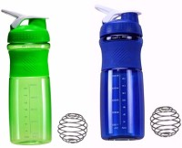 Souk Fitness Combo 760 Ml Shaker, Bottle (Pack Of 2, Green, Blue)