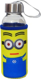 Satyam Kraft Glass Water Bottle with Thermal Sleeve and a Strap - Minion Series - Type 3 300 ml Bottle