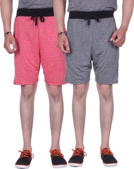 Gag Wear Solid Men's Red, Grey Denim Shorts