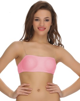 Clovia Tube Bra With Detachable Transparent Straps Women's Tube Pink Bra