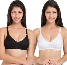 Souminie by Belle Lingeries - Pure Cotton Non Stretchable Assorted Multicolor Dailywear Mature Pack of 2 Women's Full Coverage Bra
