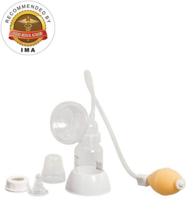 Mee Mee Breast Pump With Feeding Bottle Set  - Manual (White)