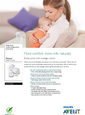Philips Avent Comfort Breast Pump  - Electric (White)