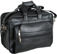 Easies Synthetic Leather Full Expandable 16 Inches Executive Black Color Office Bag Large Briefcase - For Men Black