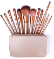 Dewberry 12 Pcs Professional Makeup Brush Set With Metal Case (Pack Of 12)