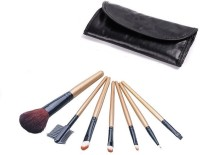 Wow Cosmetics 7 PCS Ligneous Makeup Brushes Sets With Soft Black Bag (Pack Of 7)