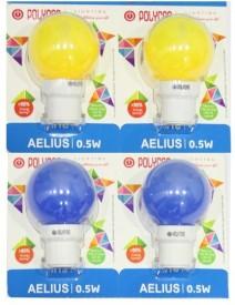 0.5 W LED Bulb B22 Blue, Yellow (pack of 4)
