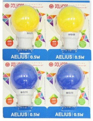 0.5 W LED Bulb B22 Blue, Yellow (pack of 4)