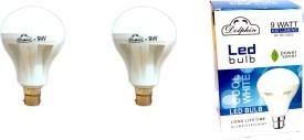 9W LED Bulb (White, Pack Of 2)