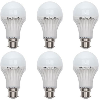 7W B22 LED Bulb (White, Set of 6)
