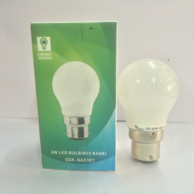 3 W B22 LED Bulb (White, Pack of 3)