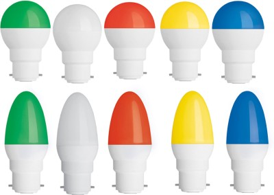0.5W-Plastic-Body-Multicolor-Round-and-Candel-LED-Bulb-(Pack-of-10)