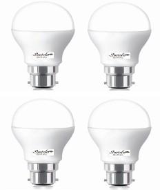 7W B22 LED Bulb (White, Set of 4)