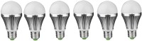 IPP 5 W LED (Set Of 6) E27 5 Watt Long Life - Full Aluminium Body - Superb Design Bulb (White, Pack Of 6)