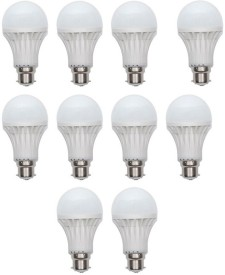 12W B22 LED Bulb (White, Set of 10)