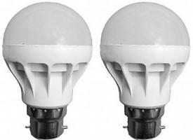 9W B22 LED Bulb (White, Set of 2)