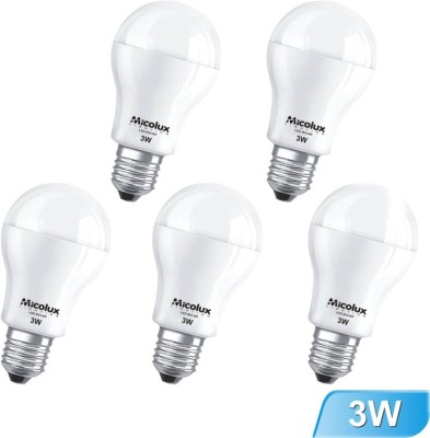 3W E27 White Led Bulb (Set Of 5)