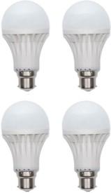 15W Plastic 450 Lumens White LED Bulb (Pack Of 4)