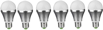 3W E27 Aluminium Body White LED Bulb (Pack of 6)